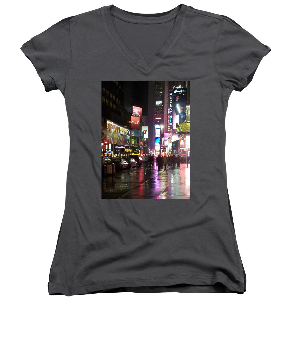 Times Square Women's V-Neck T-Shirt featuring the photograph Times Square In The Rain 1 by Anita Burgermeister