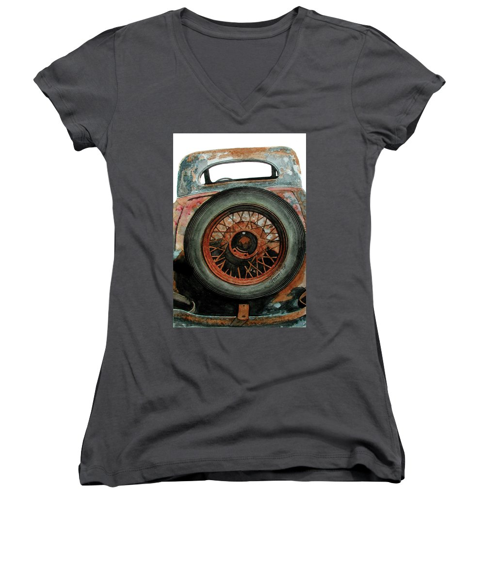Car Women's V-Neck T-Shirt featuring the painting Tired by Ferrel Cordle