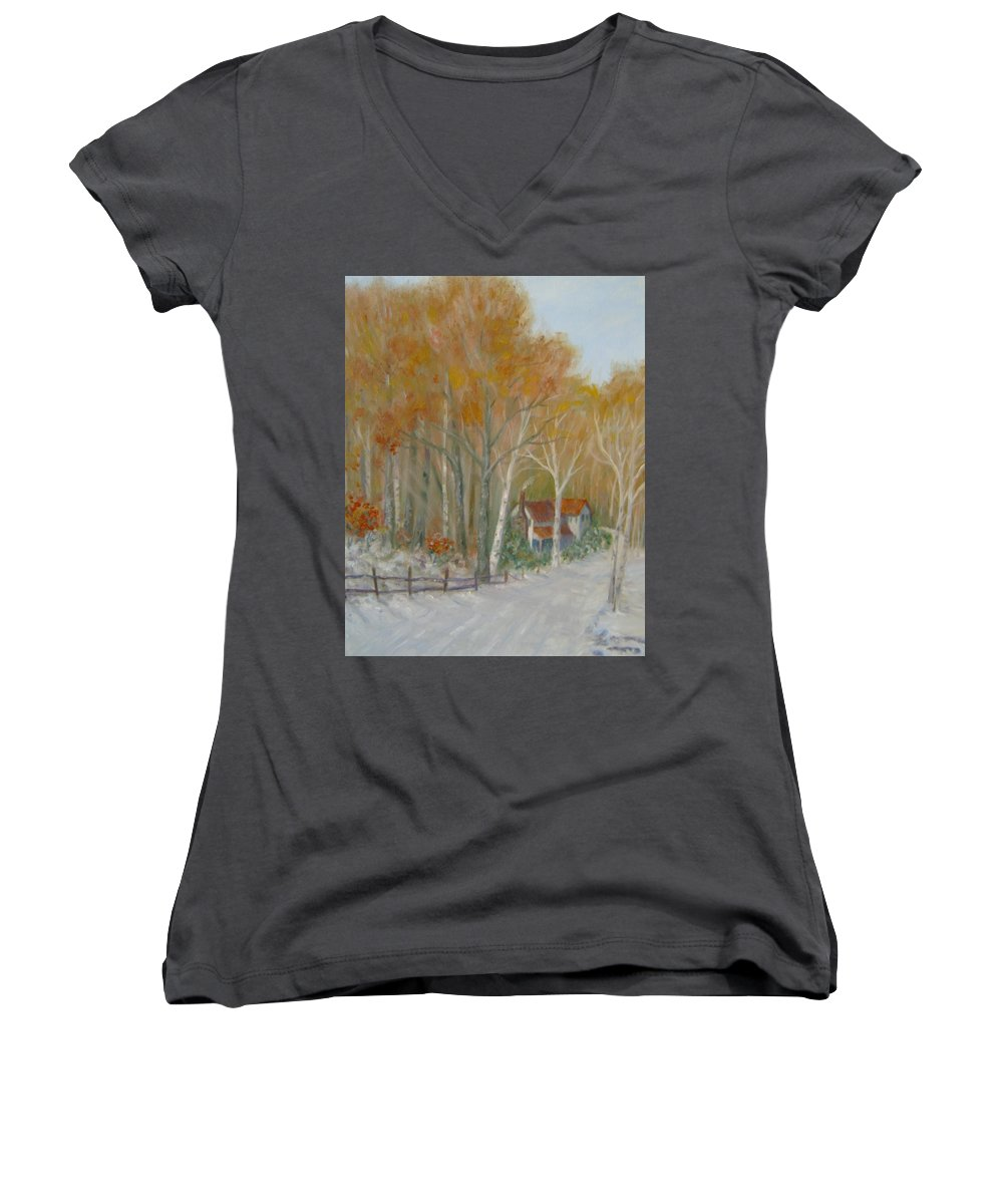 Country Road; House; Snow Women's V-Neck T-Shirt featuring the painting To Grandma's House by Ben Kiger