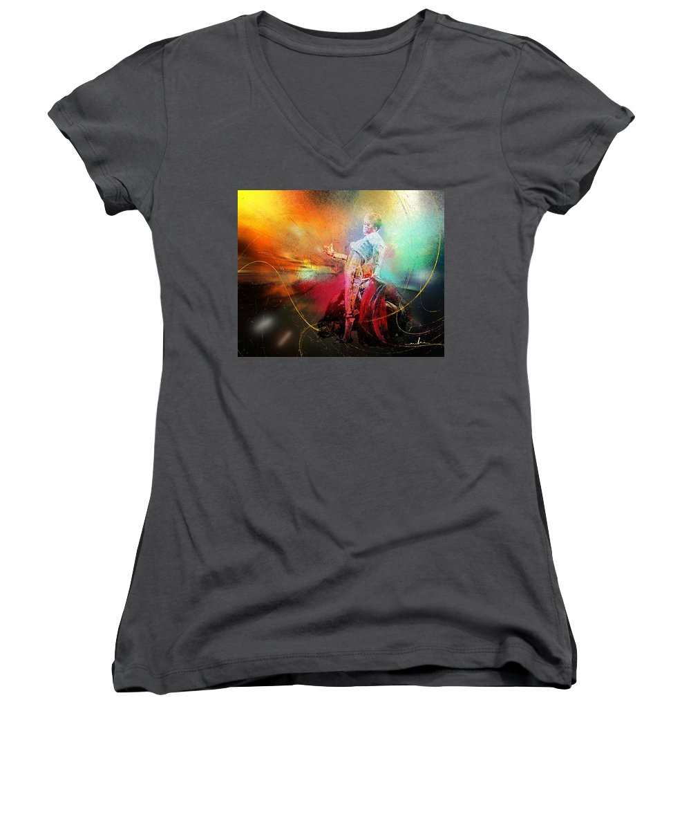 Animals Women's V-Neck T-Shirt featuring the painting Toroscape 25 by Miki De Goodaboom
