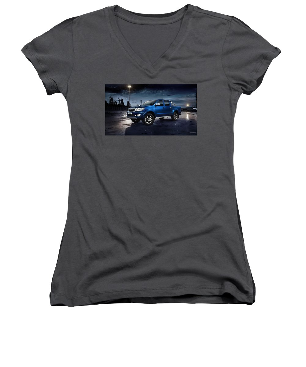 Toyota Hilux Women's V-Neck featuring the photograph Toyota Hilux by Mariel Mcmeeking