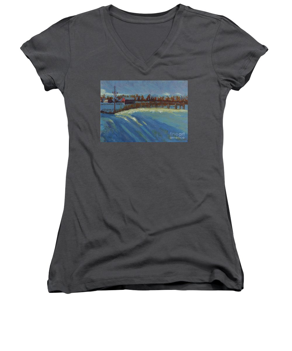 Snow Women's V-Neck (Athletic Fit) featuring the painting Tracks In The Snow by Laura Toth