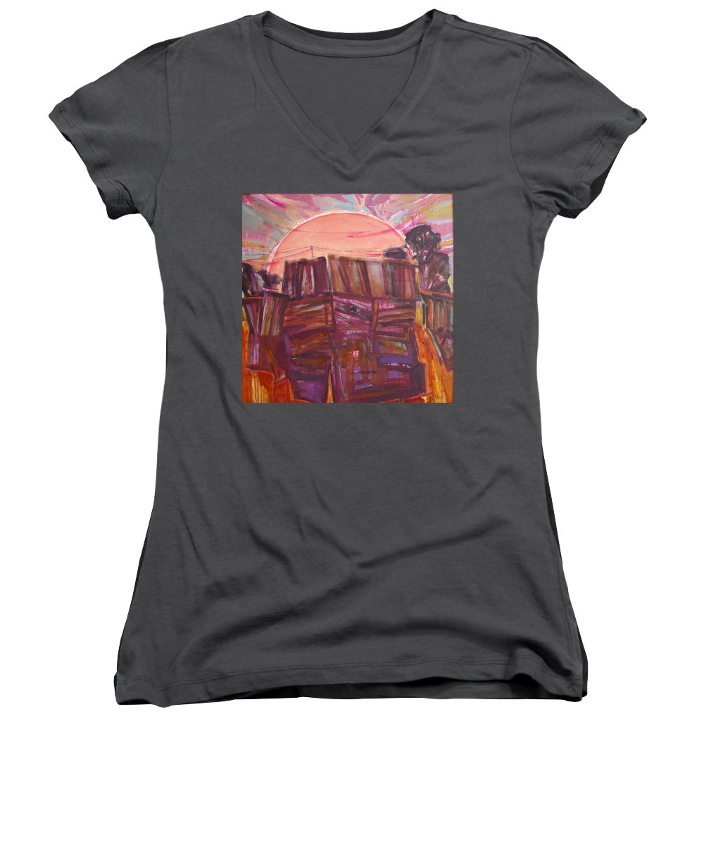 Oil Women's V-Neck T-Shirt featuring the painting Tracks by Sergey Ignatenko
