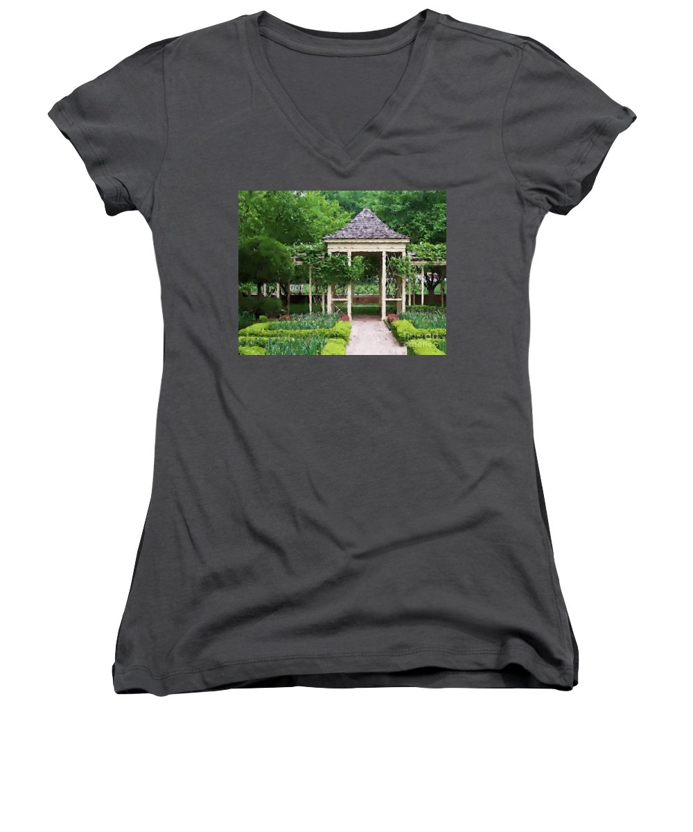 Garden Women's V-Neck T-Shirt featuring the photograph Tranquil by Debbi Granruth