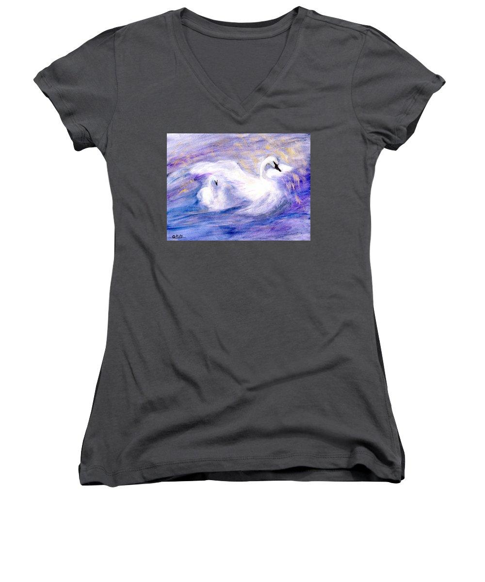 Birds Women's V-Neck T-Shirt featuring the painting Transformation by Gail Kirtz