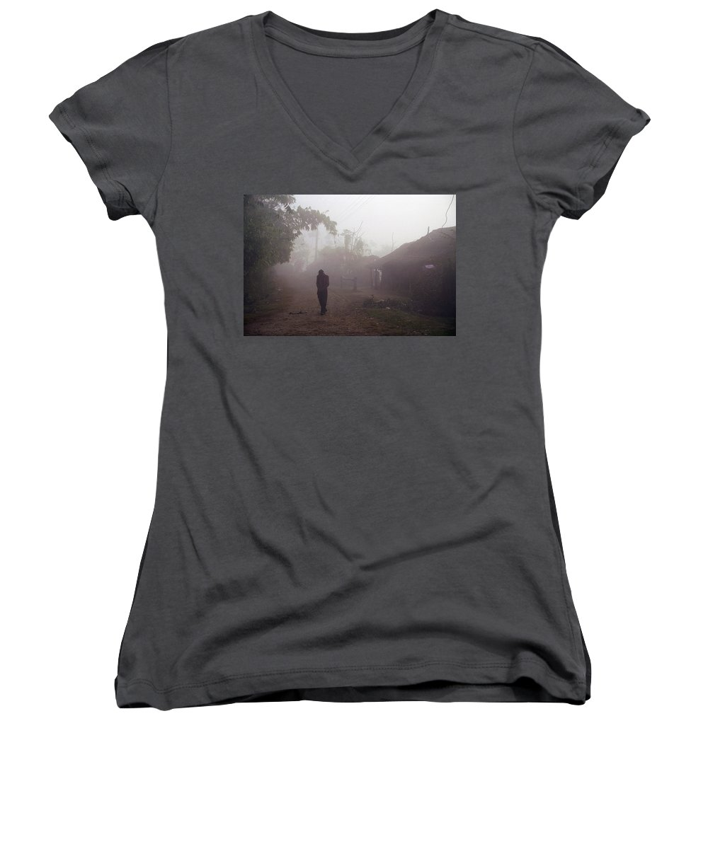 Nepal Women's V-Neck T-Shirt featuring the photograph Tristesse by Patrick Klauss