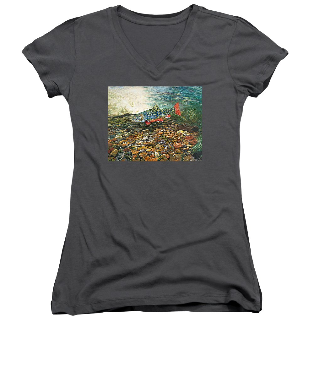 Art Women's V-Neck T-Shirt featuring the painting Trout Art Fish Art Brook Trout Suspended Artwork Giclee Fine Art Print by Baslee Troutman