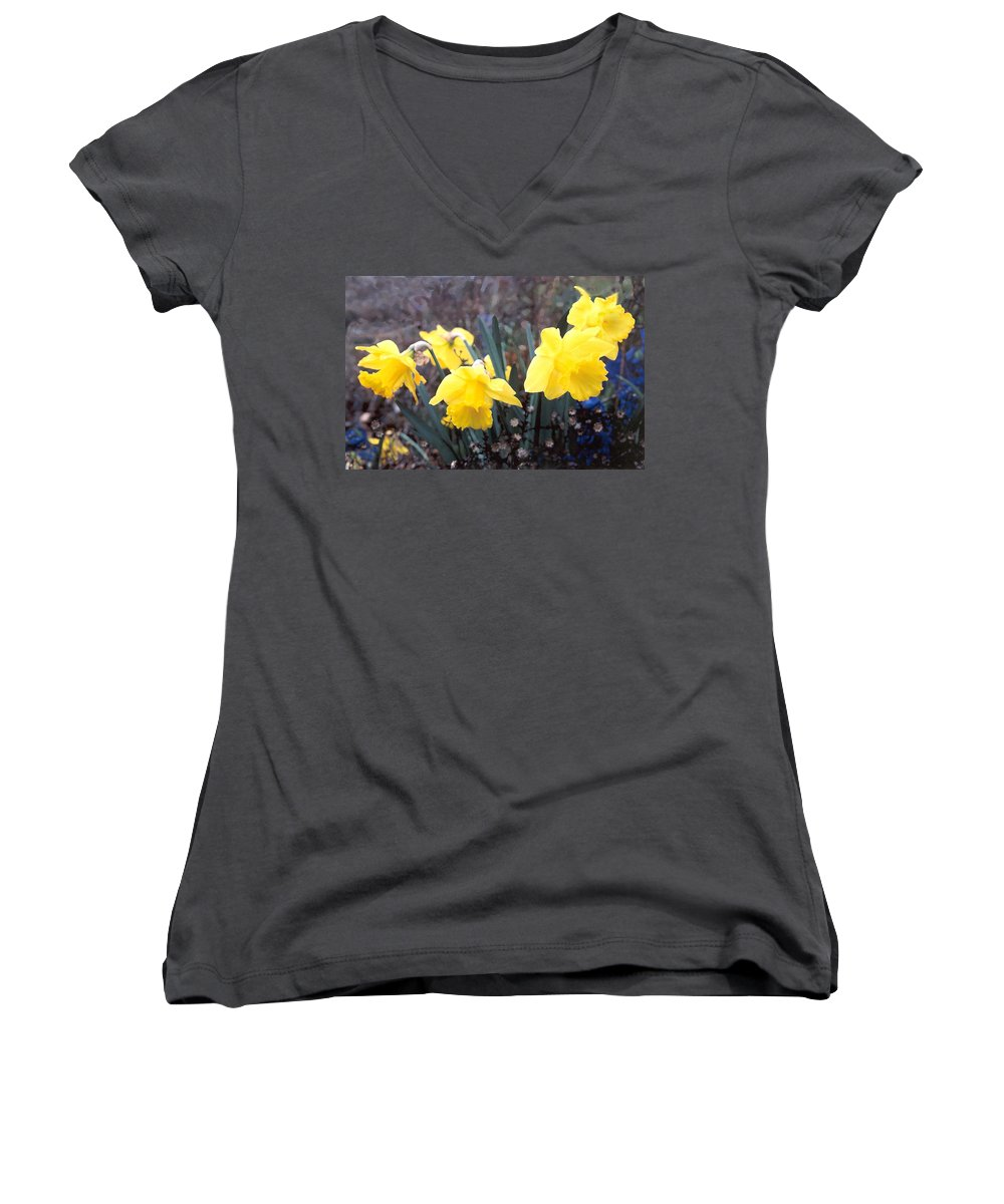 Flowes Women's V-Neck T-Shirt featuring the photograph Trumpets Of Spring by Steve Karol