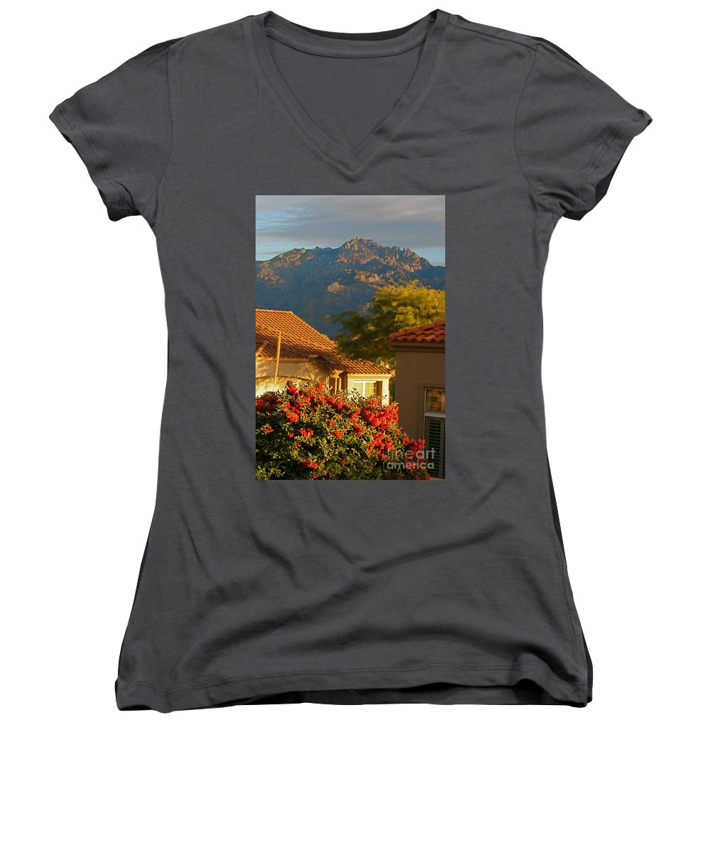Mountains Women's V-Neck T-Shirt featuring the photograph Tucson Beauty by Nadine Rippelmeyer