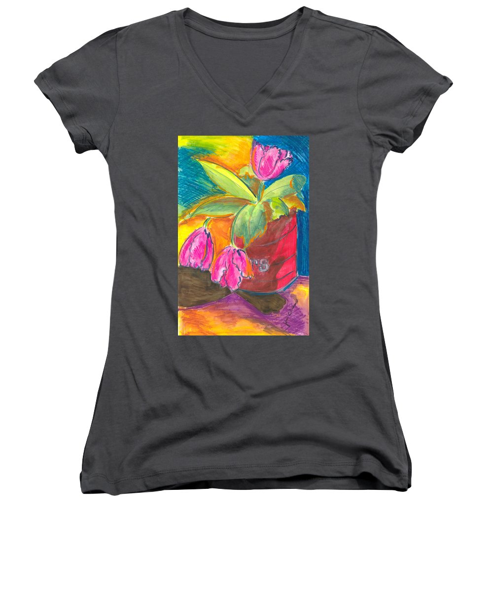 Flowers Women's V-Neck T-Shirt featuring the painting Tulips In Can by Jean Blackmer