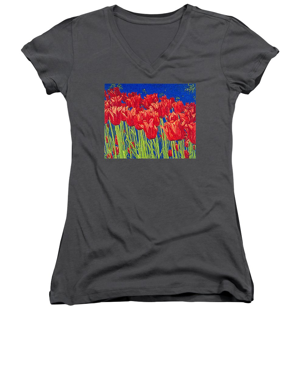 Tulips Women's V-Neck (Athletic Fit) featuring the drawing Tulips Tulip Flowers Fine Art Print Giclee High Quality Exceptional Color Garden Nature Botanical by Baslee Troutman