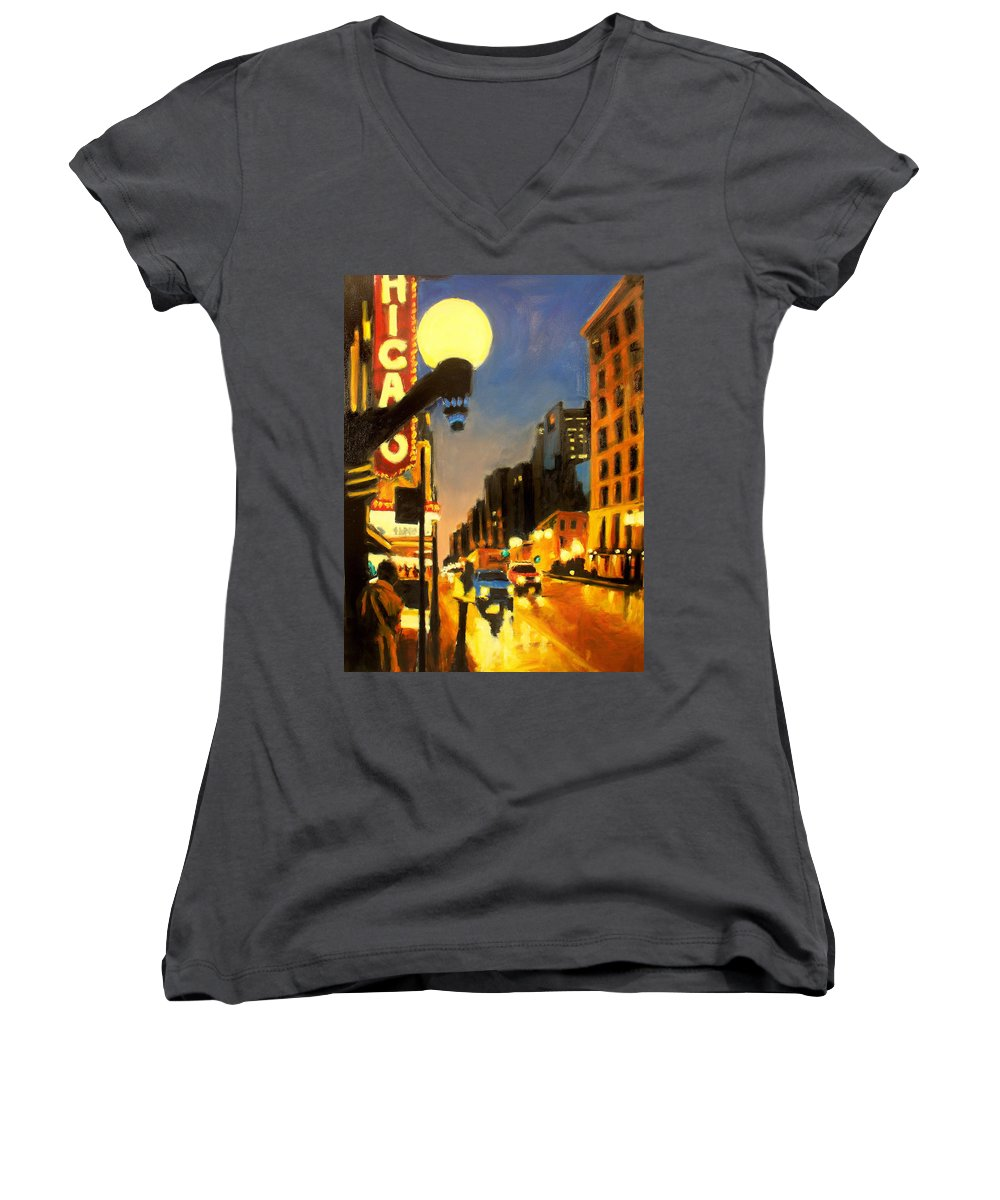Rob Reeves Women's V-Neck T-Shirt featuring the painting Twilight In Chicago - The Watcher by Robert Reeves