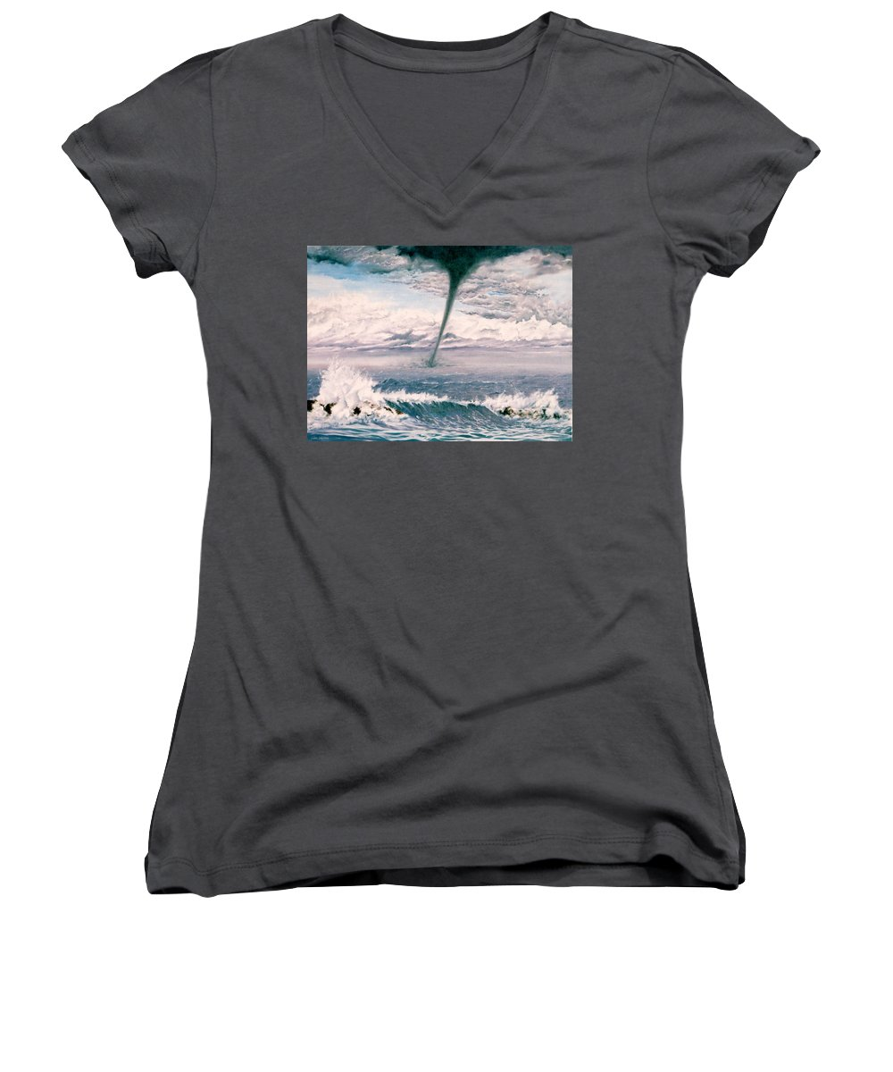 Seascape Women's V-Neck T-Shirt featuring the painting Twisted Nature by Mark Cawood