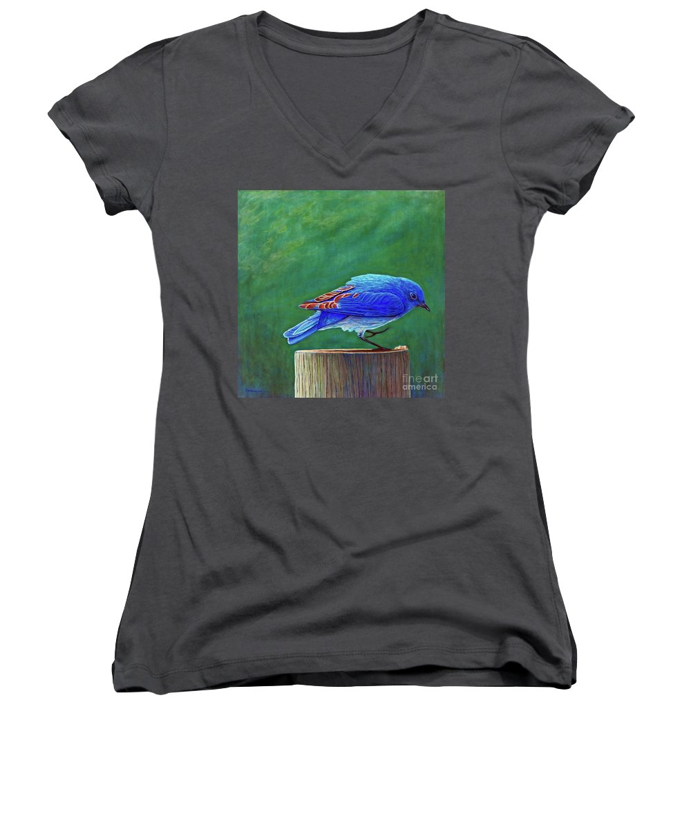 Bluebird Women's V-Neck (Athletic Fit) featuring the painting Two Step by Brian Commerford