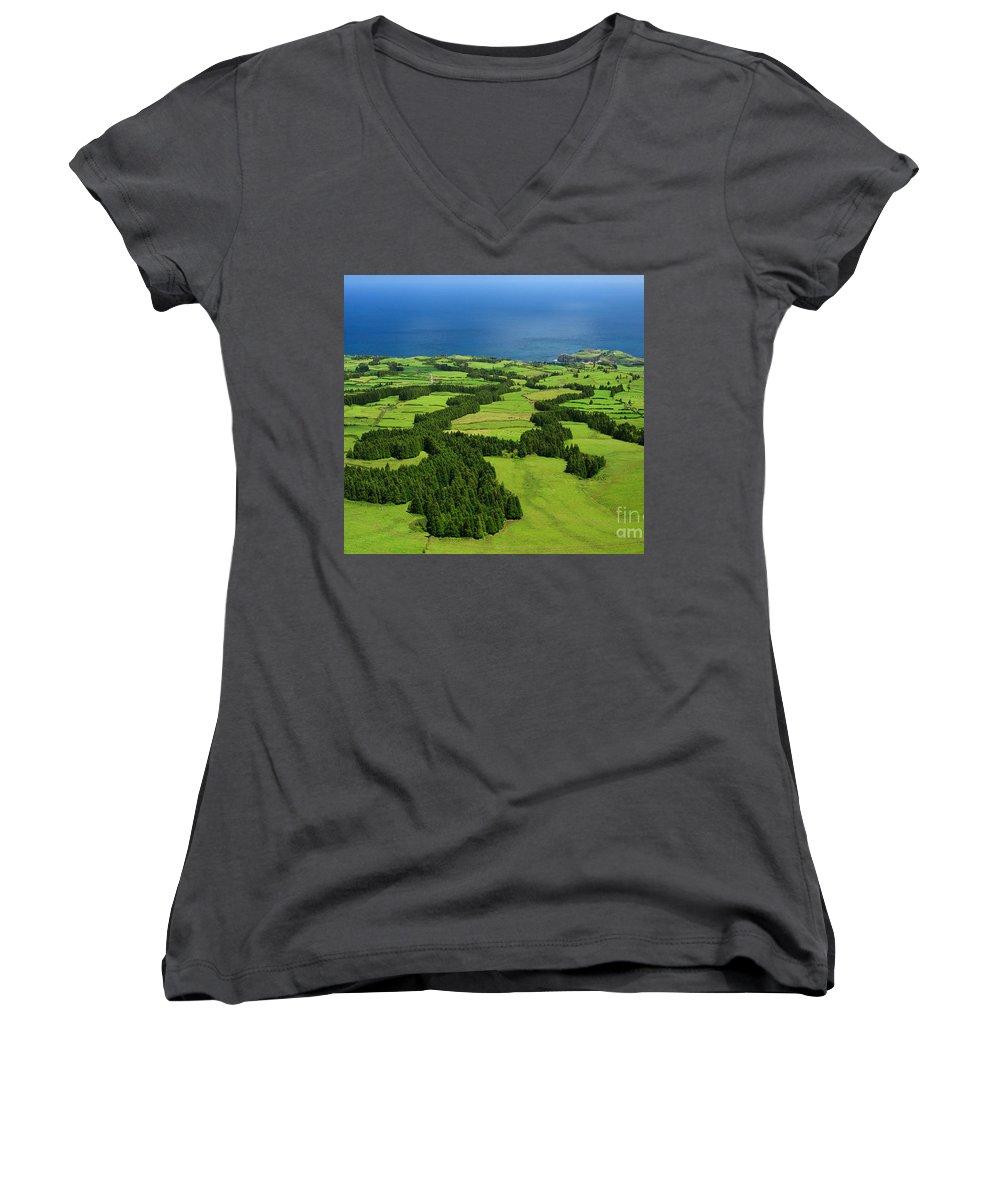 Landscape Women's V-Neck T-Shirt featuring the photograph Typical Azores Islands Landscape by Gaspar Avila