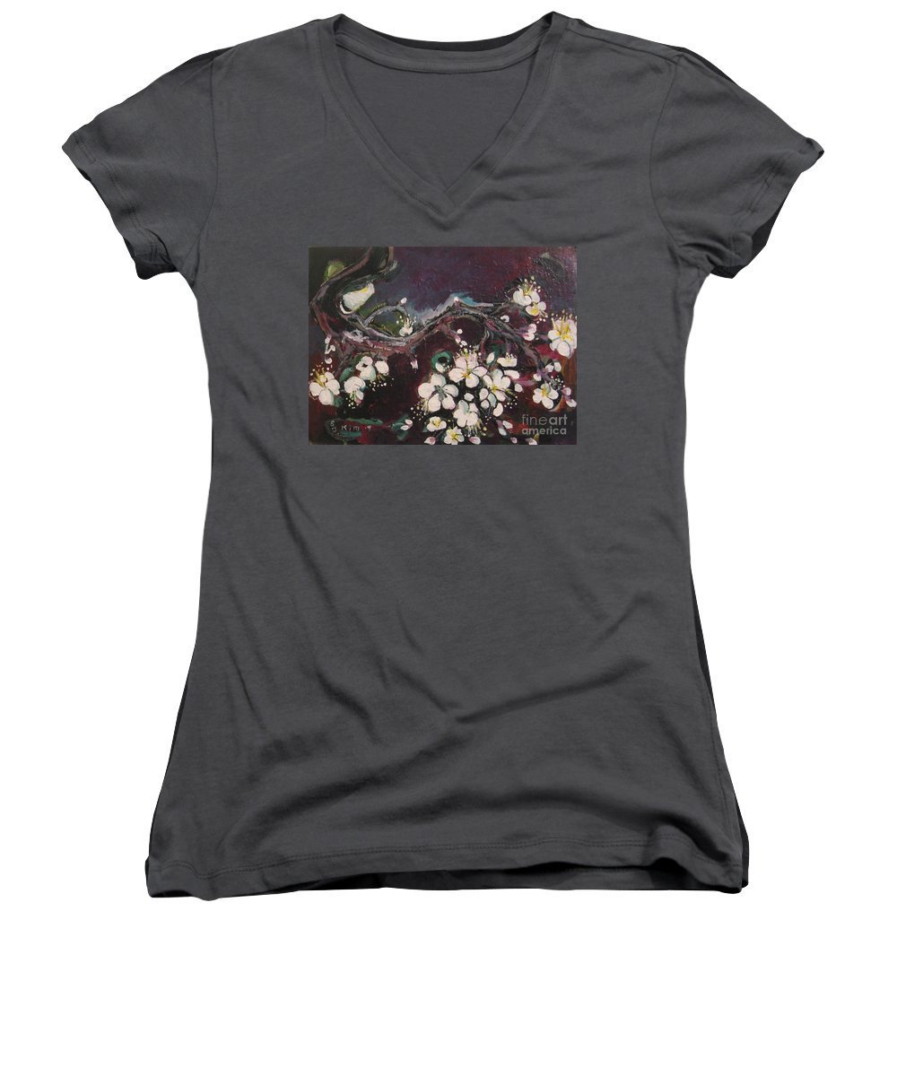 Ume Blossoms Paintings Women's V-Neck T-Shirt featuring the painting Ume Blossoms by Seon-Jeong Kim