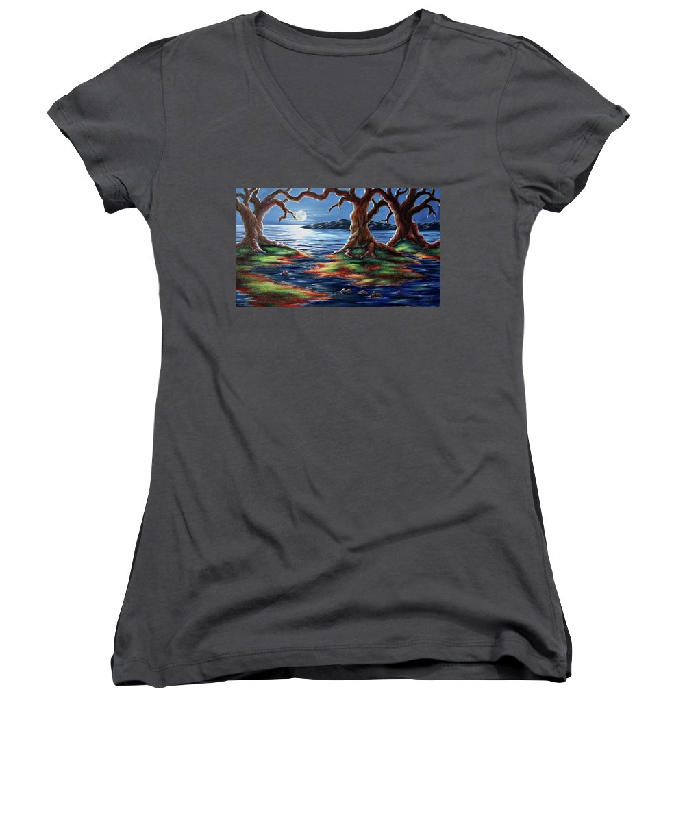 Textured Painting Women's V-Neck (Athletic Fit) featuring the painting United Trees by Jennifer McDuffie