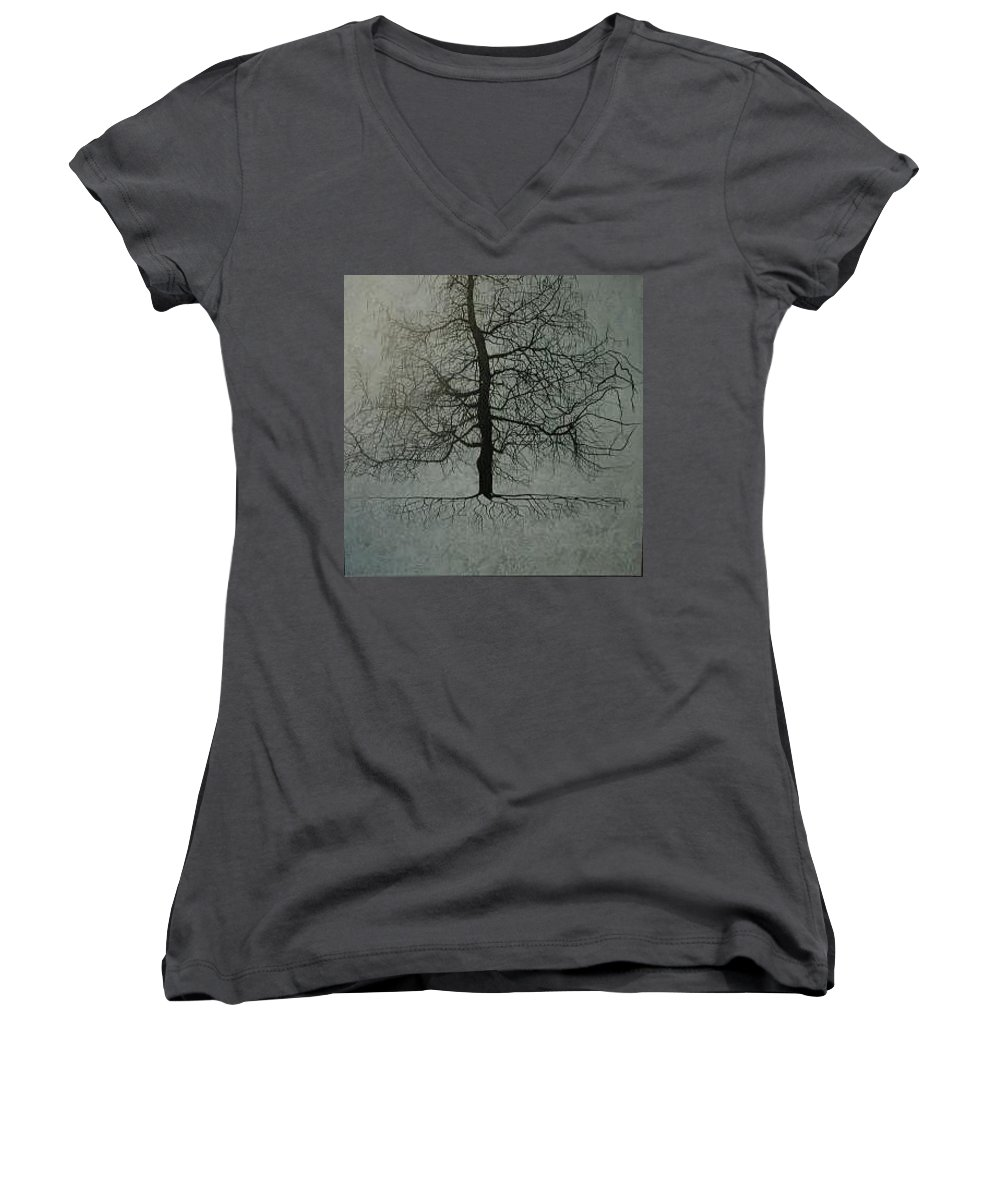 Silhouette Women's V-Neck T-Shirt (Junior Cut) featuring the painting Untitled Blue by Leah Tomaino