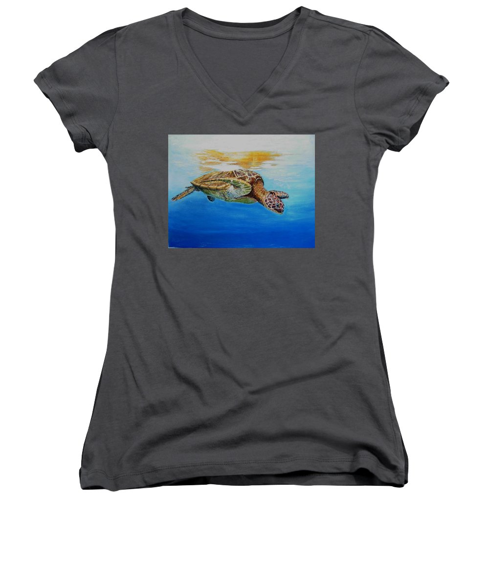 Wildlife Women's V-Neck T-Shirt featuring the painting Up For Some Rays by Ceci Watson