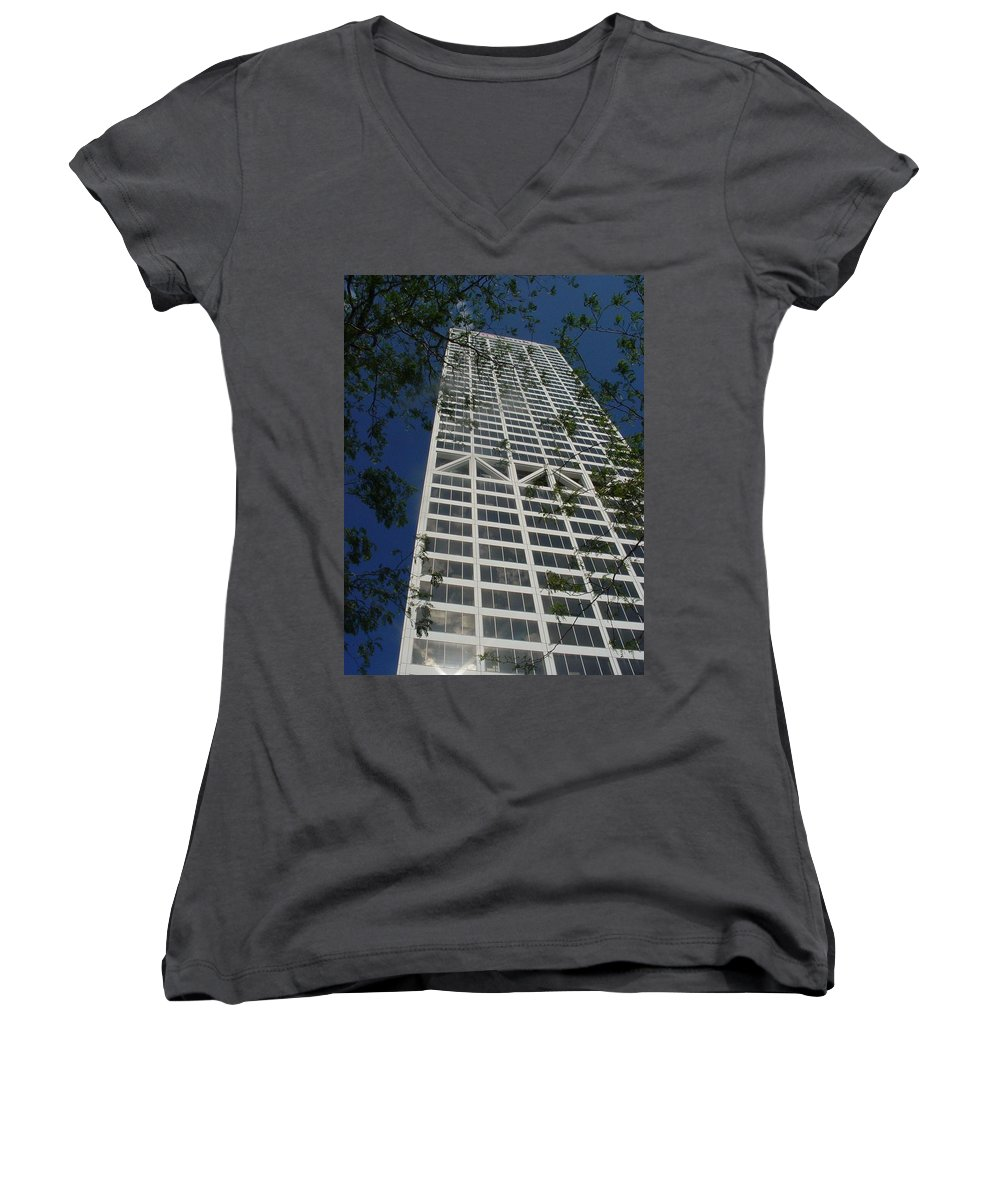 Us Bank Women's V-Neck T-Shirt featuring the photograph Us Bank With Trees by Anita Burgermeister