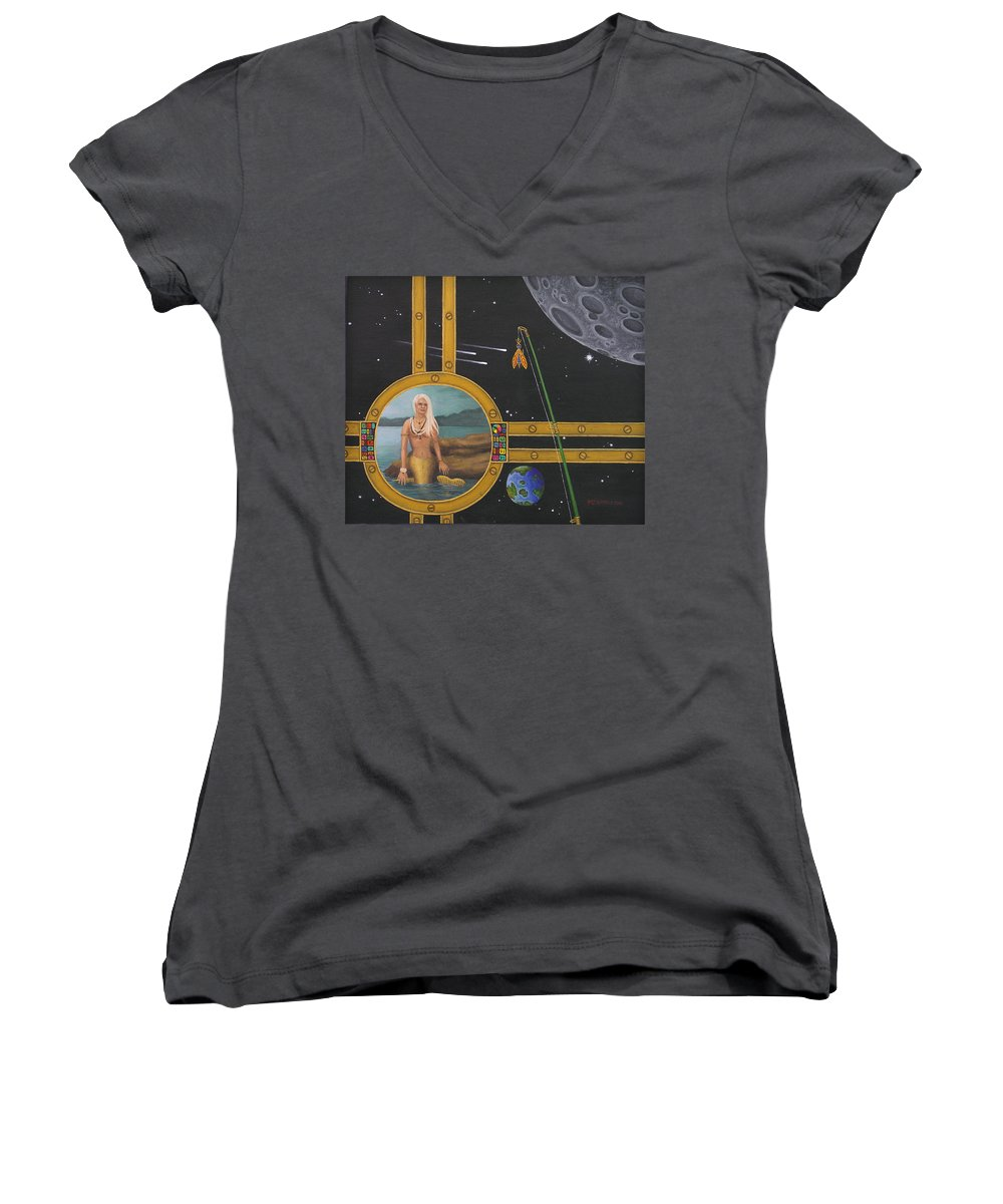 Fantasy Women's V-Neck (Athletic Fit) featuring the painting Vacation Fishing For Mermaids by Roz Eve