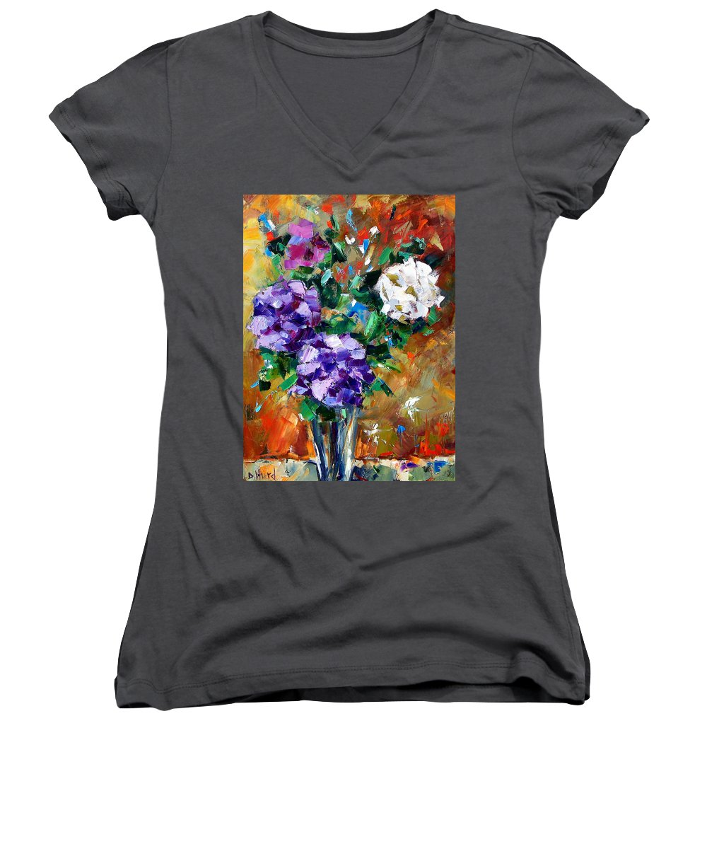 Flowers Women's V-Neck (Athletic Fit) featuring the painting Vase Of Color by Debra Hurd