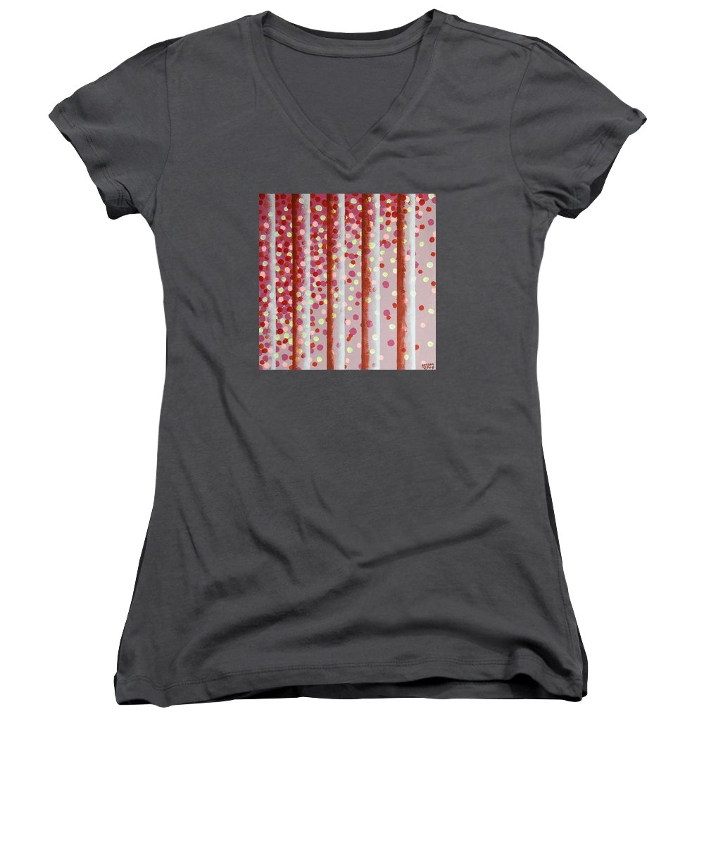 Vertical Bars Women's V-Neck T-Shirt featuring the painting Vertical Bars by Alan Hogan