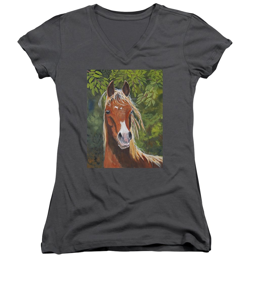 Horse Women's V-Neck T-Shirt featuring the painting Victory by Heather Coen