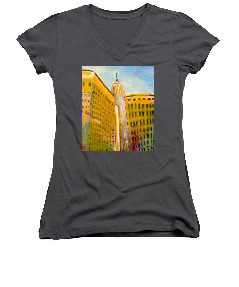 Abstract Cityscape Women's V-Neck (Athletic Fit) featuring the painting View From The 33 St by Habib Ayat
