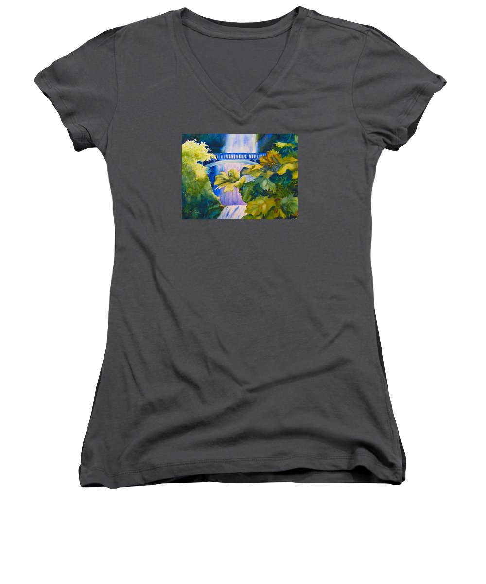 Waterfall Women's V-Neck (Athletic Fit) featuring the painting View Of The Bridge by Karen Stark