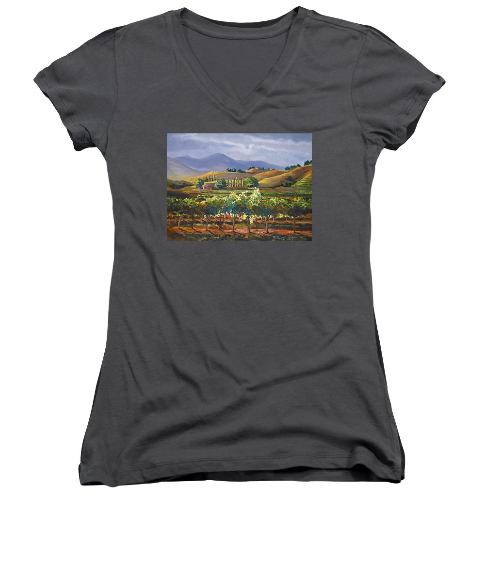 Vineyard Women's V-Neck (Athletic Fit) featuring the painting Vineyard In California by Heather Coen