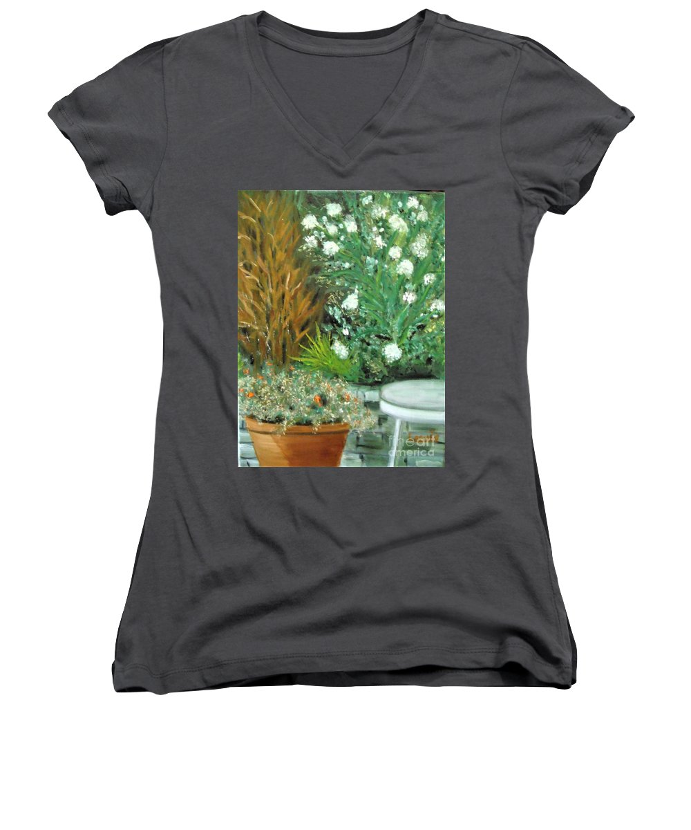 Virginia Women's V-Neck (Athletic Fit) featuring the painting Virginia's Garden by Laurie Morgan