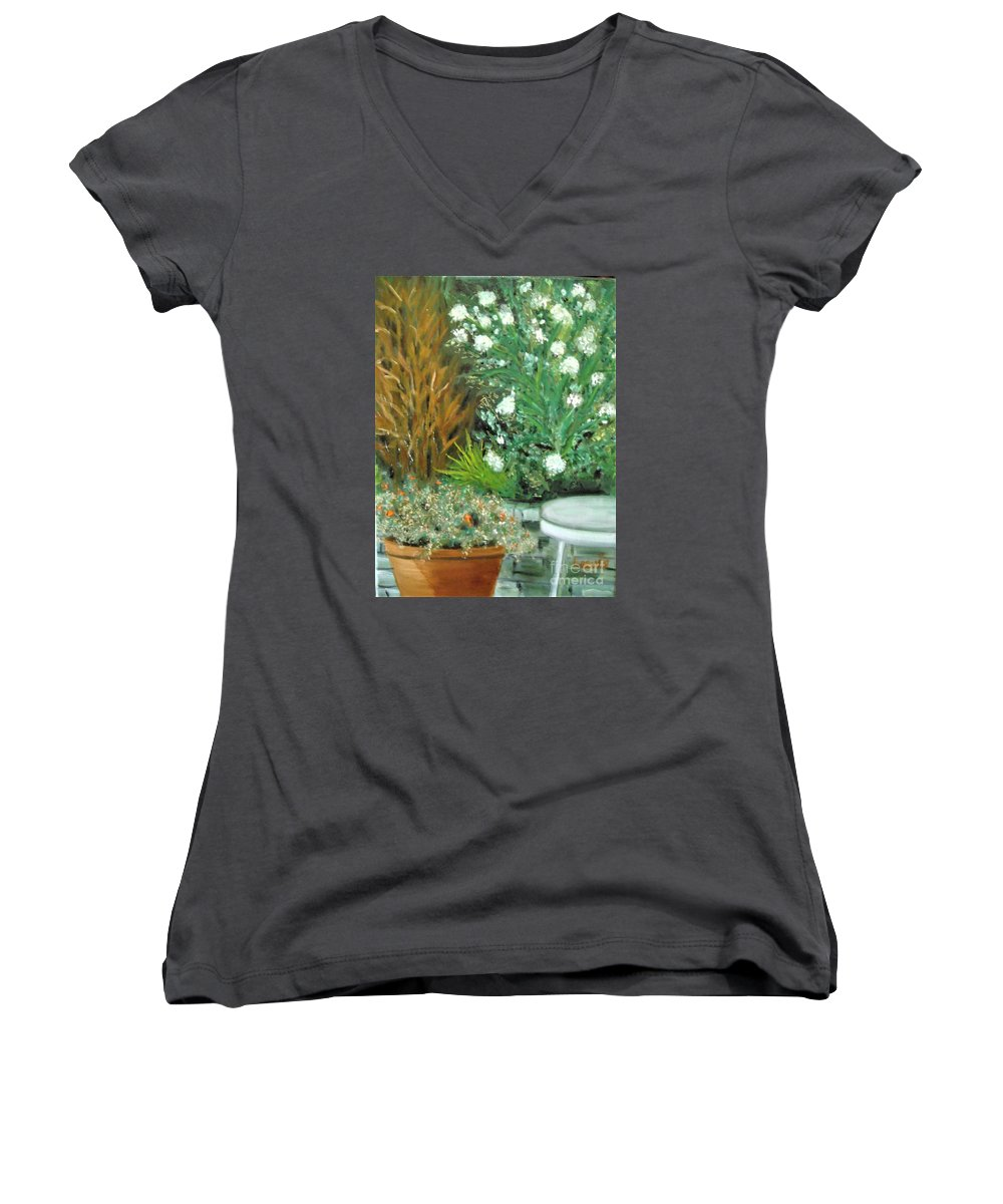 Virginia Women's V-Neck T-Shirt featuring the painting Virginia's Garden by Laurie Morgan