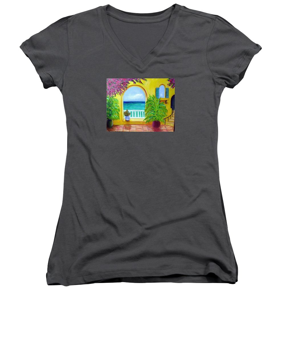 Patio Women's V-Neck (Athletic Fit) featuring the painting Vista Del Agua by Laurie Morgan