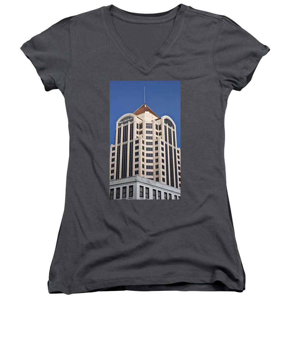 Roanoke Women's V-Neck (Athletic Fit) featuring the photograph Wachovia Tower Roanoke Virginia by Teresa Mucha