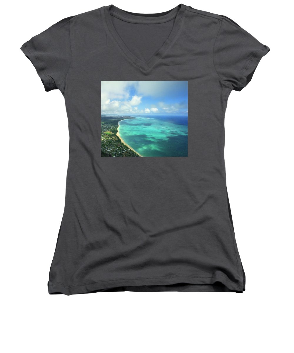 Waimanalo Women's V-Neck (Athletic Fit) featuring the photograph Waimanalo Bay by Kevin Smith