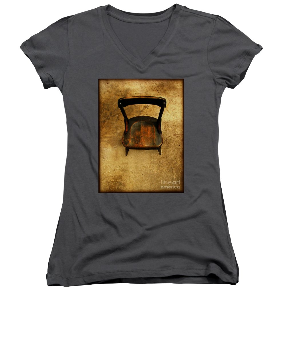 Alone Women's V-Neck T-Shirt featuring the photograph Waiting To Say Goodbye by Dana DiPasquale