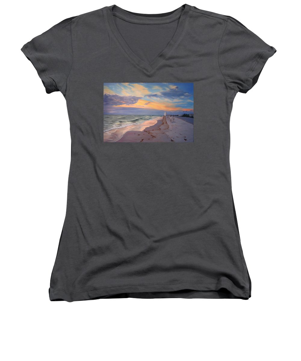 Seascape Women's V-Neck T-Shirt featuring the painting Walking On The Beach At Sunset by Lea Novak