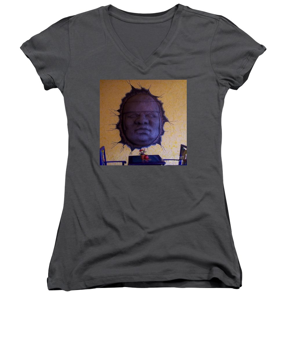 Face Women's V-Neck (Athletic Fit) featuring the photograph Watch What You Eat by Debbi Granruth