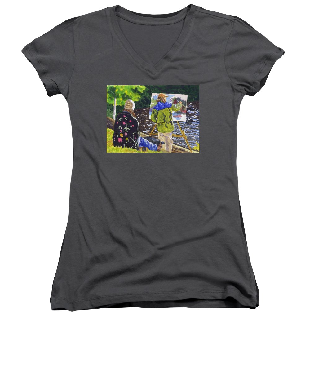 Artist Women's V-Neck T-Shirt featuring the painting Watching The Maestro by Sharon E Allen