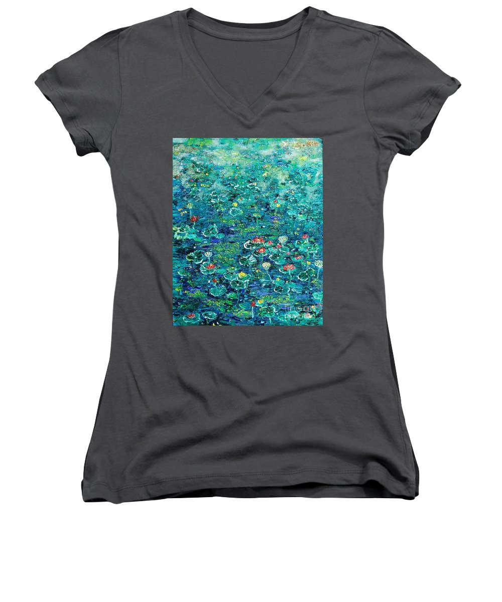 Water Lily Paintings Women's V-Neck (Athletic Fit) featuring the painting Water Lilies Lily Pad Lotus Water Lily Paintings by Seon-Jeong Kim