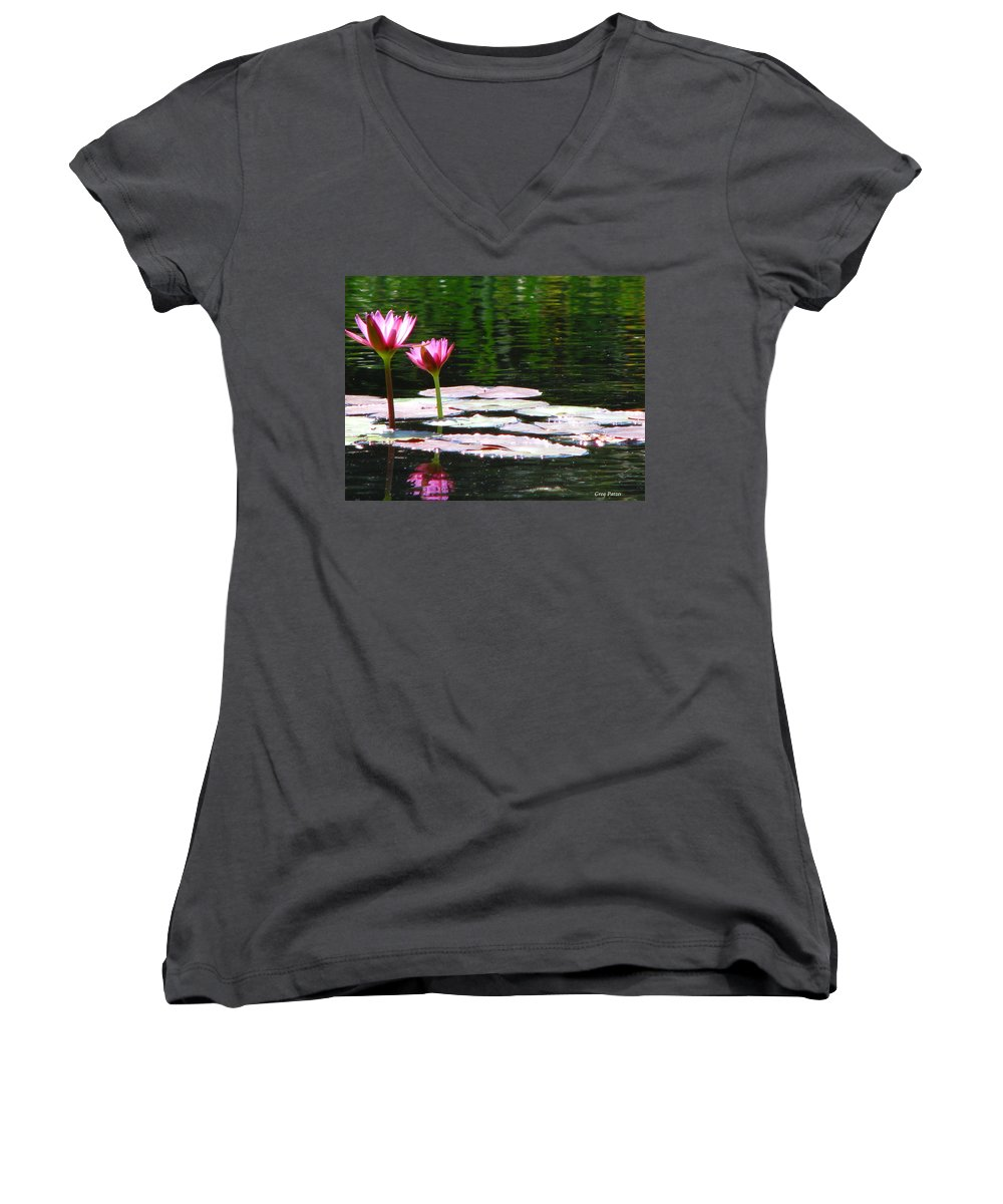 Patzer Women's V-Neck (Athletic Fit) featuring the photograph Water Lily by Greg Patzer