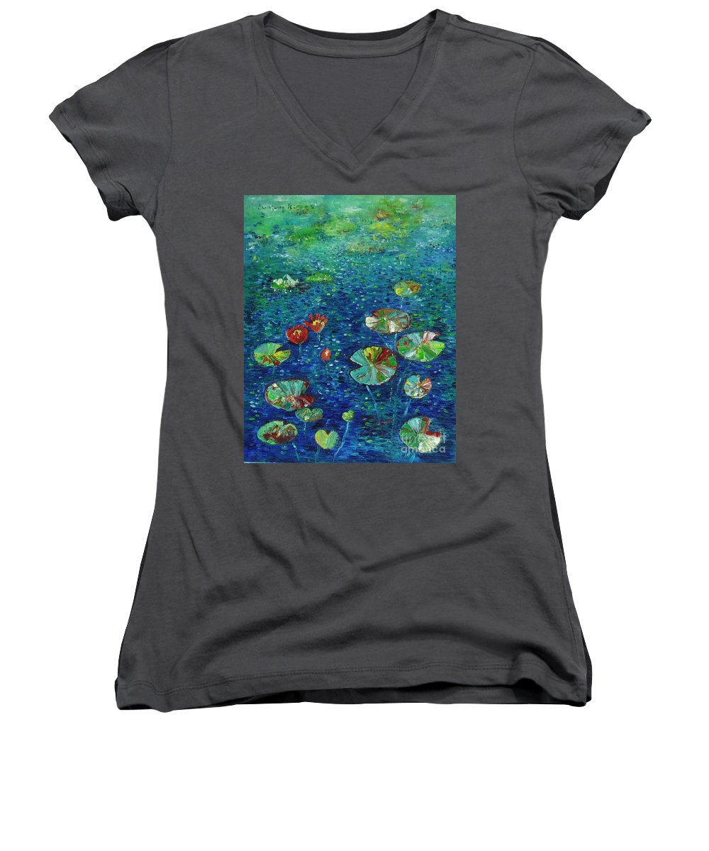 Lotus Paintings Women's V-Neck T-Shirt featuring the painting Water Lily Lotus Lily Pads Paintings by Seon-Jeong Kim