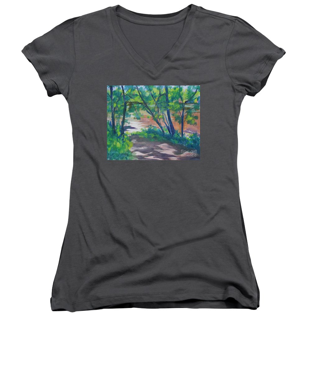 Landscape Women's V-Neck T-Shirt featuring the painting Watercress Beach On The Current River  by Jan Bennicoff