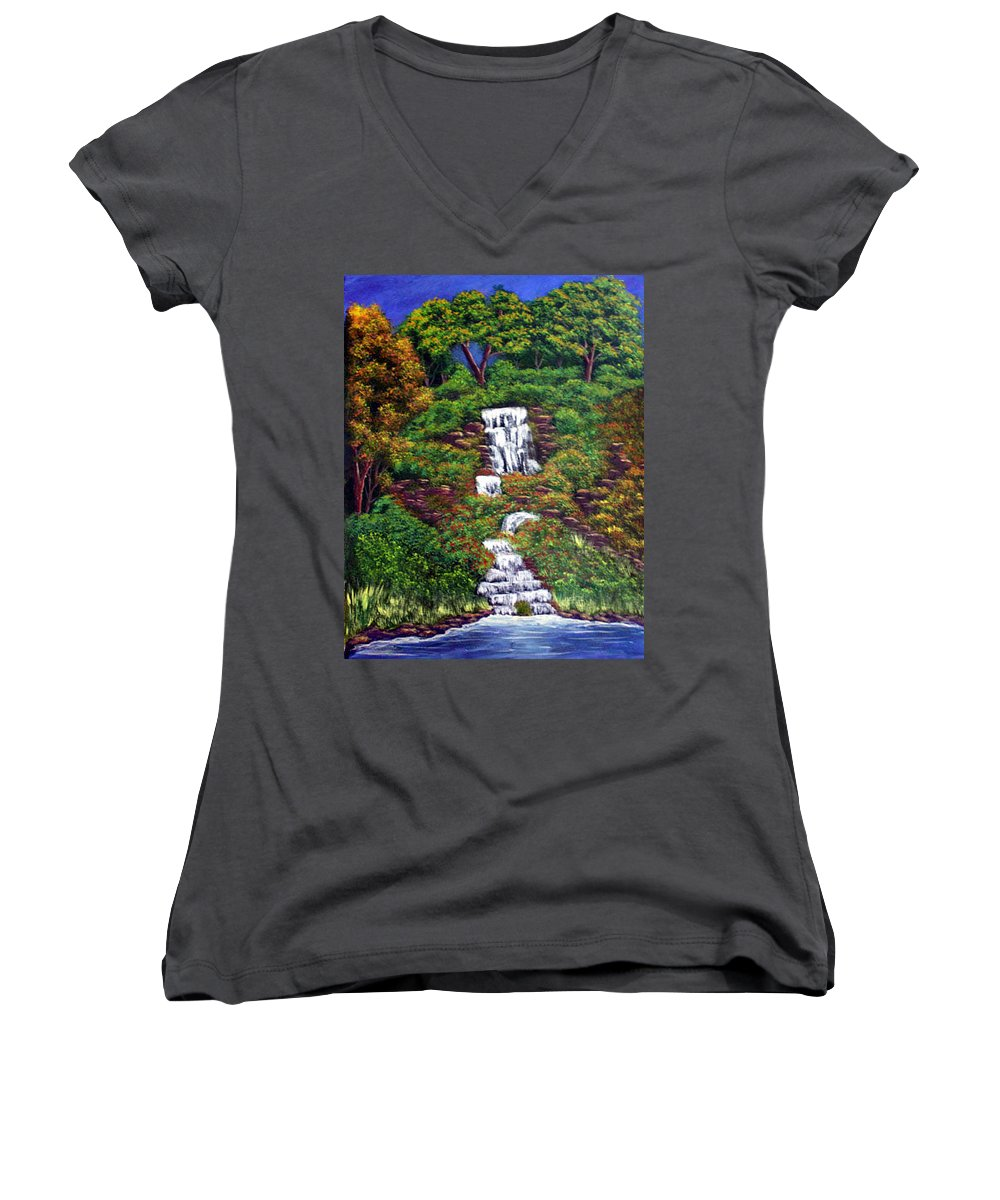 Waterfall Women's V-Neck (Athletic Fit) featuring the painting Waterfall by Dawn Blair