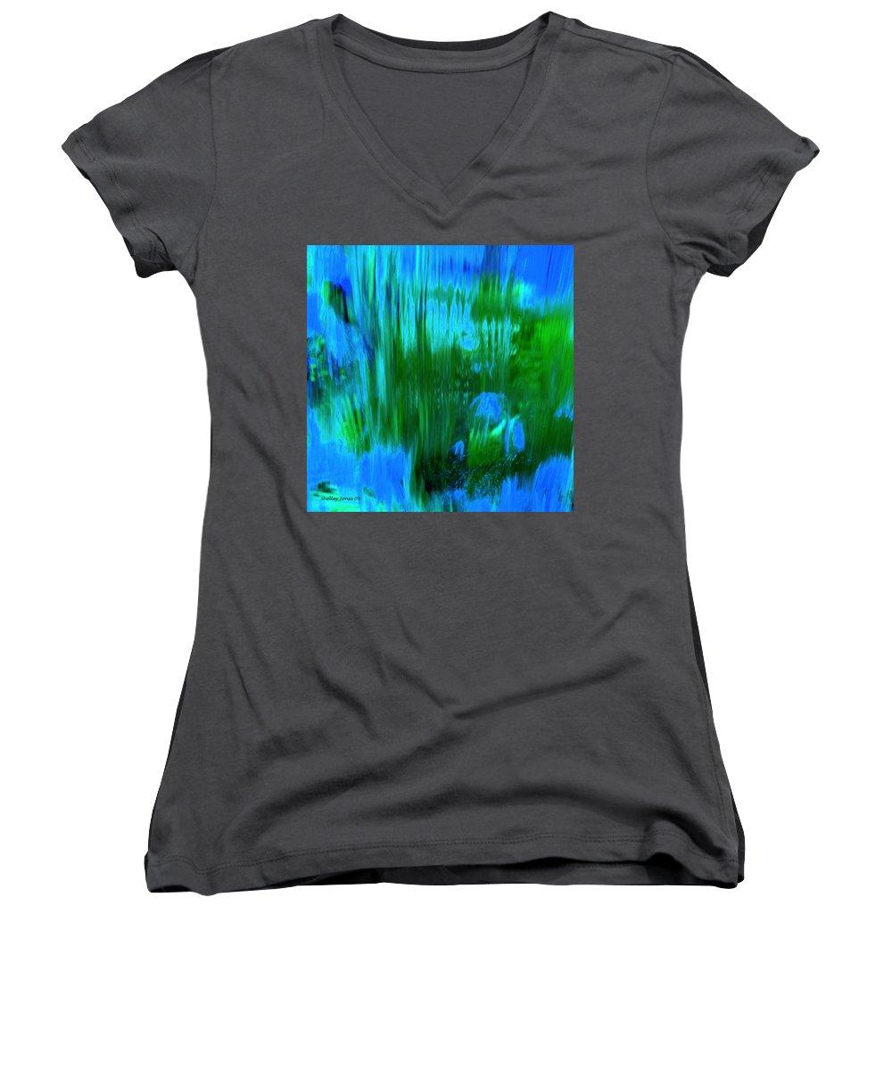Digital Art Women's V-Neck T-Shirt featuring the digital art Waterfall by Shelley Jones