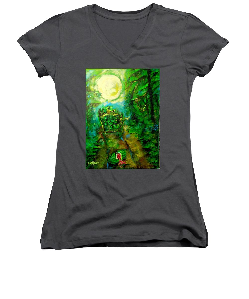 Watermelon Wagon Moon Women's V-Neck T-Shirt featuring the painting Watermelon Wagon Moon by Seth Weaver