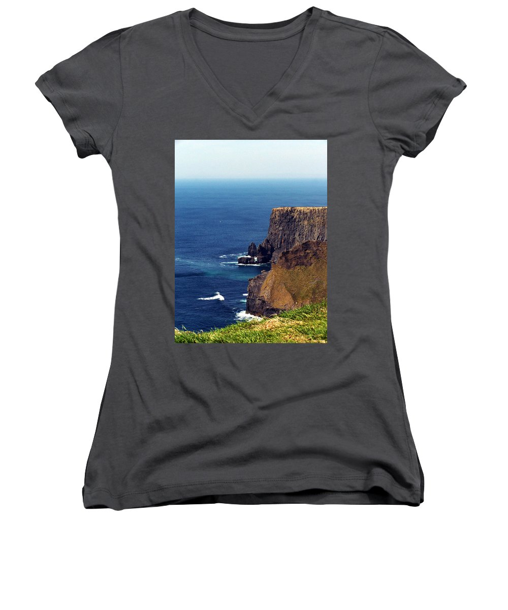 Irish Women's V-Neck (Athletic Fit) featuring the photograph Waves Crashing At Cliffs Of Moher Ireland by Teresa Mucha