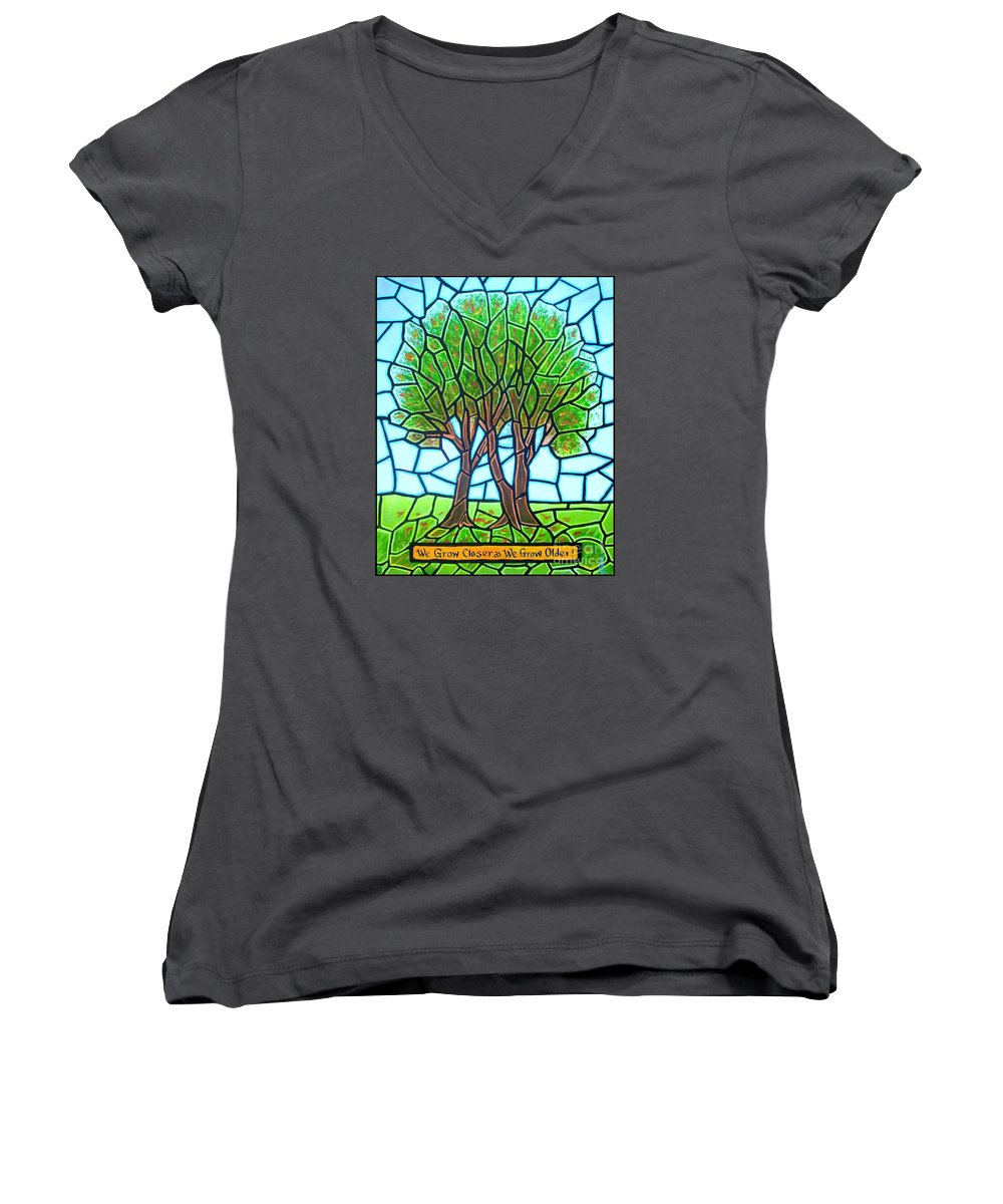 Aging Women's V-Neck T-Shirt featuring the painting We Grow Closer As We Grow Older by Jim Harris