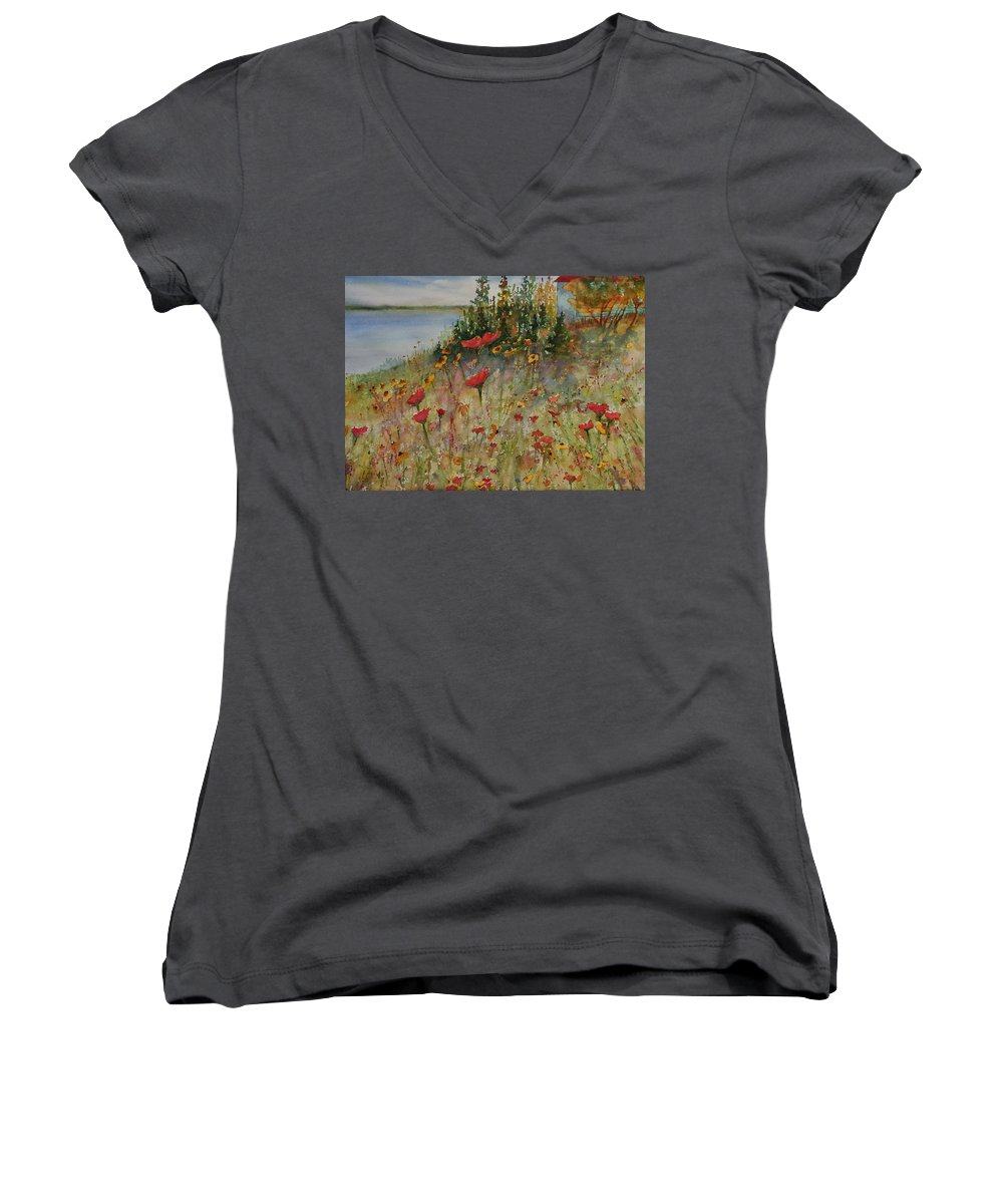 Nature Women's V-Neck T-Shirt featuring the painting Wendy's Wildflowers by Ruth Kamenev